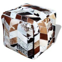 Vidaxl puf skórzany kwadratowy 45x45x45 cm, wielokolorowy