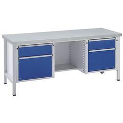 Anke werkbänke - anton kessel Stół warsztatowy, stabilny, 2 szuflady, 2 drzwi, ½ półki, okładzina z bla
