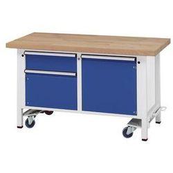 Anke werkbänke - anton kessel Stół warsztatowy do montażu,ruchomy, z 1 szufladą i 2 szafkami