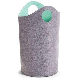 Szary kosz na pranie z uchwytami, worek na pranie, kosz na pranie tekstylny, pojemnik na pranie, kosz łazienkowy, materiałowy kosz, marki Zeller