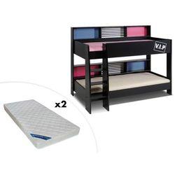 Łóżko piętrowe tymeo – 2 x 90 × 200 cm – półki – dwustronne + 2 materace zeus 90 × 200 marki Vente-unique