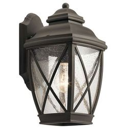 Zewnętrzna LAMPA ścienna TANGIER KL/TANGIER2/M Elstead KICHLER ogrodowa OPRAWA kinkiet na taras IP44 brąz przezroczysty, KL/TANGIER2/M