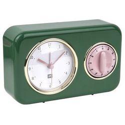 Budzik, zegar stojący NOSTALGIA green z timerem kuchennym by pt,, kolor zielony