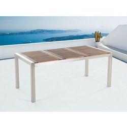 Stół ze stali nierdzewnej 180cm - drewniany - trzyczęściowy - blat - GROSSETO (7081458013364)
