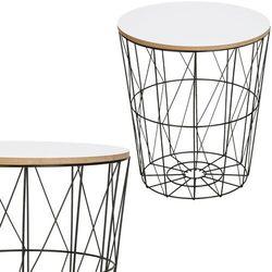 Stolik kawowy loft, kosz metalowy industrialny 35 cm czarny, biały blat (5907719408989)