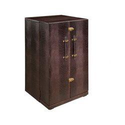 Kuferek toaletka loric - materiał skóropodobny z efektem krokodylej skóry w kolorze czekoladowym marki Vente-unique