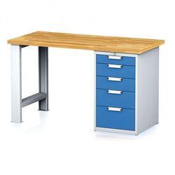 Stół warsztatowy mechanic, 1500x700x880 mm, 1x szufladowy kontener, 5 szuflad, szary/niebieski marki B2b partner