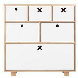 Durbas style drewniana komoda wysoka 80 x 45 biała marki Durbas-style