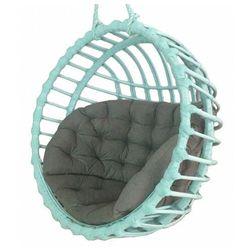 Miętowy wiszący fotel z wikliny z szarą poduszką - petro 2x marki Producent: elior