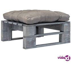 vidaXL Ogrodowe siedzisko z palet z szarą poduszką, szare drewno FSC (8718475727835)