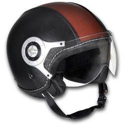 vidaXL Kask na skuter skórzany S czarno brązowy - produkt z kategorii- kaski motocyklowe