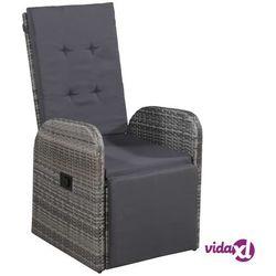 Vidaxl rozkładany fotel ogrodowy z poduszką, rattan pe, szary