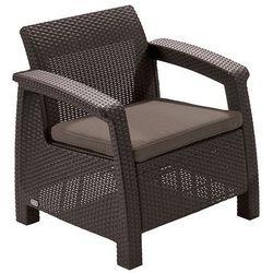 Allibert krzesło z poduszką corfu - brązowe + szaro-brązowa poduszka (3253929114137)