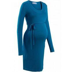 Sukienka dzianinowa ciążowa i do karmienia piersią, z wiązanym paskiem  zielony oceaniczny, marki Bonprix