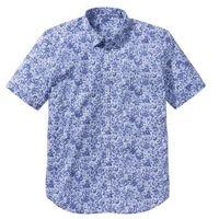 Koszula z krótkim rękawem Regular Fit bonprix biało-niebieski z nadrukiem