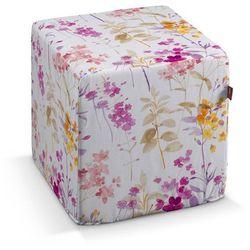 Dekoria  pufa kostka twarda, fioletowo-pomarańczowe kwiaty z łodygami na bialym tle, 40x40x40 cm, monet