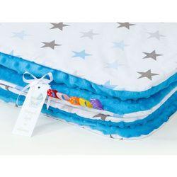 kocyk minky dla dzieci 100x135 gwiazdki szare i niebieskie d / niebieski marki Mamo-tato
