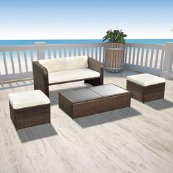 vidaXL Zestaw jadalniany ogrodowy z sofą, rattanowy, brązowy, 9 szt., kup u jednego z partnerów