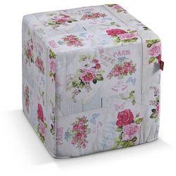 pufa kostka twarda, różowe kwiaty na jasnym tle, 40 × 40 × 40 cm, ashley marki Dekoria