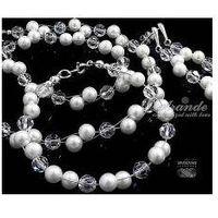 Arande Komplet swarovski ślubny crystal pearl srebro