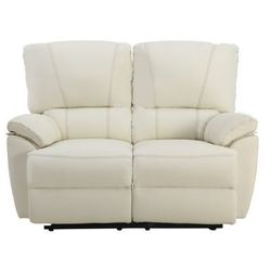 2-osobowa skórzana sofa z elektrycznie regulowaną funkcją relaks MARCIS - Kość słoniowa, kolor beżowy
