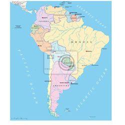 Fototapeta Ameryka Południowa - Mapa polityczna, produkt marki Redro