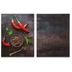 Szklane płyty kuchenne, 2 sztuki, deska do krojenia, odporna na temperatury, serwowanie potraw, zabezpieczenie kuchenek marki Zeller