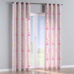 zasłona na kółkach 1 szt., pastelowe wzory na różowym tle, 1szt 130x260 cm, little world marki Dekoria