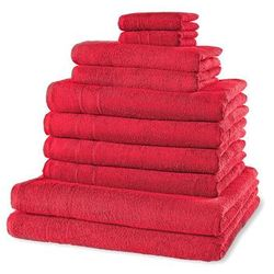 """Komplet ręczników """"New Uni""""(10 części) bonprix ciemnoczerwony"""