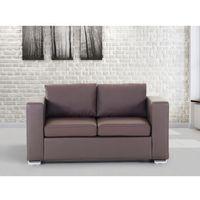 Sofa skórzana dwuosobowa brązowa - kanapa - HELSINKI, kolor brązowy