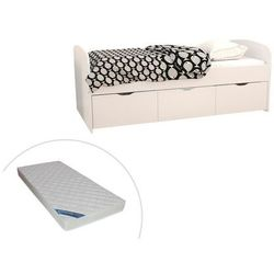 Łóżko LOUANE z 2 szufladami i 1 pojemnikiem na pościel – 90 × 190 cm – kolor biały, z materacem