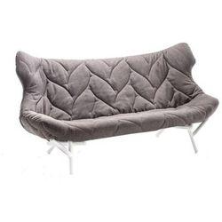 Sofa Foliage biała rama szary poliester
