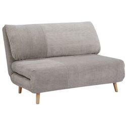 2-osobowa sofa rozkładana z prążkowanego weluru palula - jasnoszara marki Vente-unique.pl