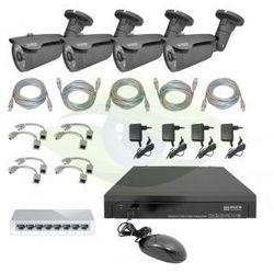 Eura Zestaw do monitoringu ip '' pro'' msp-12c5 (3 mpx) 4 x kamera cba-62c5, rejestrator 25 kanałów, switch, 4 x zasilacz, 4 x adapter poe, skrętka, myszka