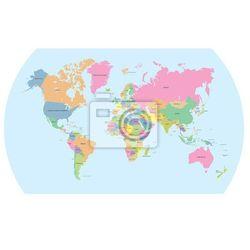 Fototapeta Kolorowa mapa polityczna świata wektora (mapa szkolna)