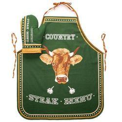 Fartuch i rękawica kuchenna Steak Menu zielony, 63 x 75 cm, 18 x 28 cm