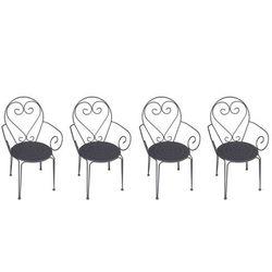 Zestaw 4 foteli ogrodowych GUERMANTES z kutego żelaza – kolor antracytowy