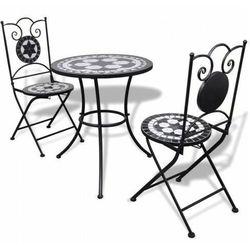 Czarno-biały 3-częściowy zestaw mebli z mozaiką – flurry marki Elior