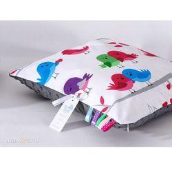 Mamo-tato poduszka minky dwustronna 30x40 ptaszki białe / szary