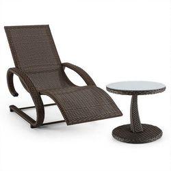 Blumfeldt daybreak leżak bujany + stolik imitacja plecionki kolor brązowy
