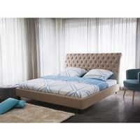 Łóżko beżowe - 160x200 cm - łóżko tapicerowane - stelaż - reims, marki Beliani