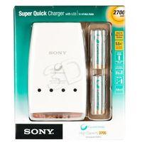 SONY ŁADOWARKA AA/AAA LCD ::plus:: 4 AKUMULATORY R6 2700mA (ładowarka do akumulatorków)