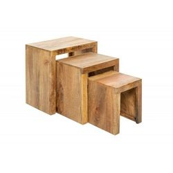 Sofa.pl Invicta zestaw stolików makassar 3 naturalne mango - lite drewno mango