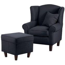 WEST fotel tapicerowany z pufą - niebieski, 16447 / WEST 1H / TURIN NAVY / CIEMNY BRĄZ