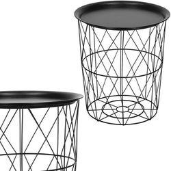 Stolik kawowy loft 40 cm kosz metalowy z tacą industrialny czarny