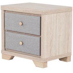Szafka nocna jasny odcień drewna/szara 2 szuflady BERCK (4260624112619)