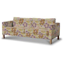 Dekoria Pokrowiec na sofę Karlstad 3-osobową nierozkładaną, krótki, pomarańczowo-fioletowe kwiaty na lnianym tle, Sofa Karlstad 3-osobowa, Etna
