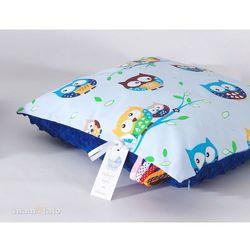 MAMO-TATO Poduszka Minky dwustronna 30x40 Sówki błękitne / modrak