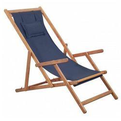 Granatowy drewniany leżak plażowy - Inglis, vidaxl_43996