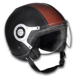 Kask na skuter, L, skórzany, brąz i czarny (kask motocyklowy)